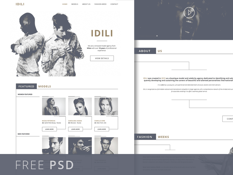 Fashion Agency Website Template PSD Freebie Download - Download PSD