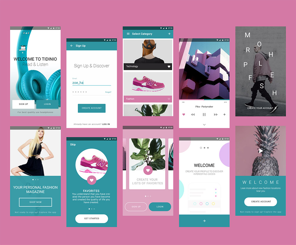 Fashion Magazine Mobile App UI Kit Free PSD - Download PSD