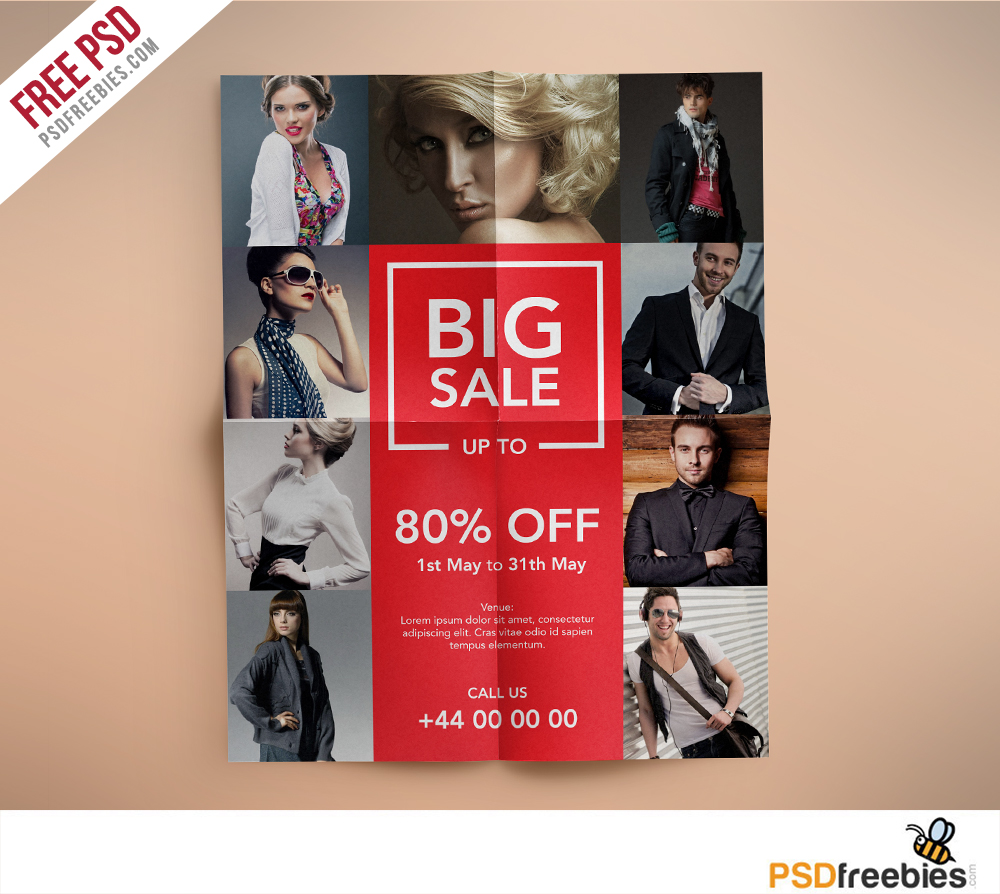 Fashion Retail Sale Flyer Free Psd Template: Fashion Retail Sale Flyer Free PSD Template