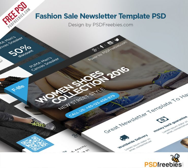 Fashion-Sale-Newsletter-Template-PSD-740x662 Sale Business Newsletter Templates on