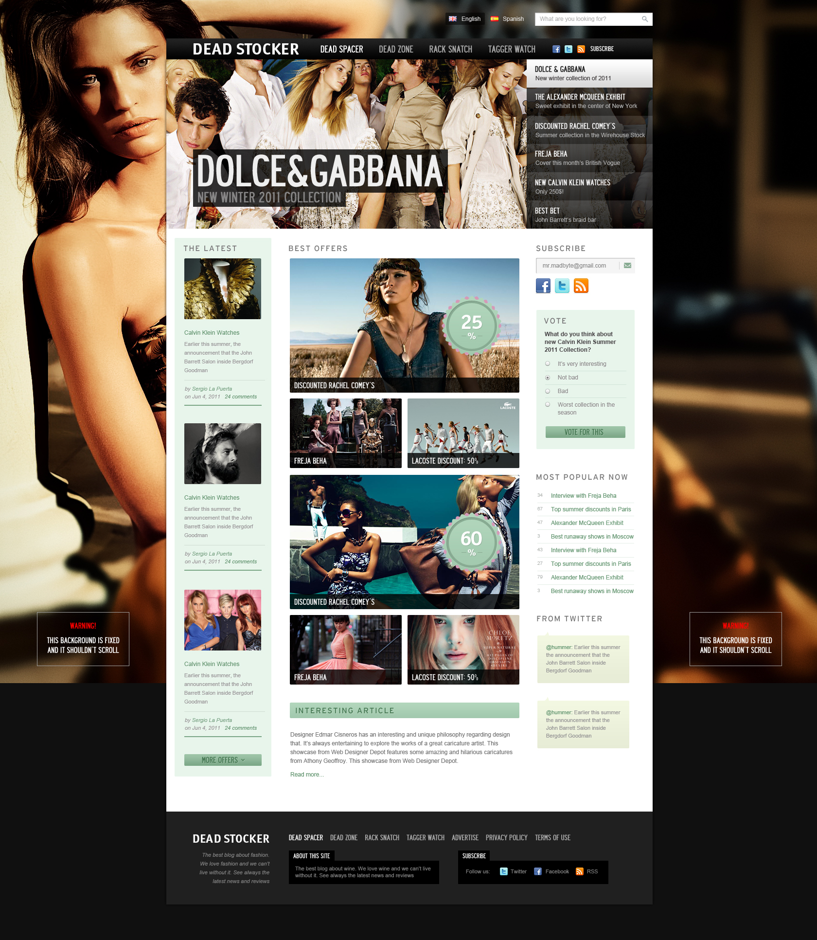 Fashion Website Free Psd Template Download Psd