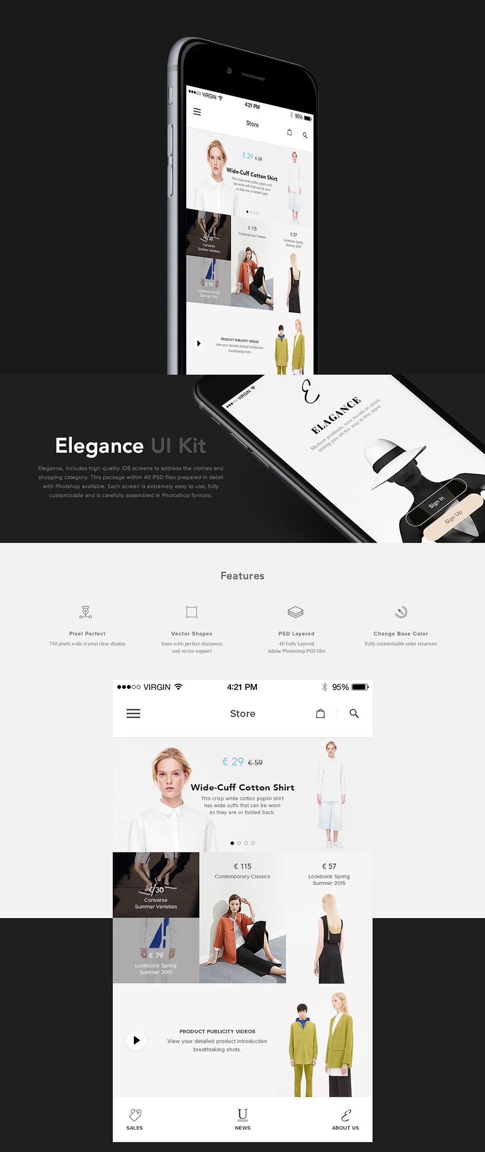 Fashion eCommerce Shopping App UI Kit Free PSD