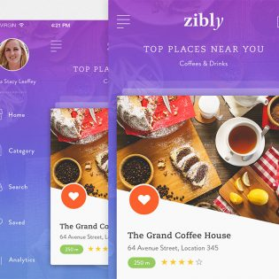 Fast Food Restaurant Finder App Free PSD