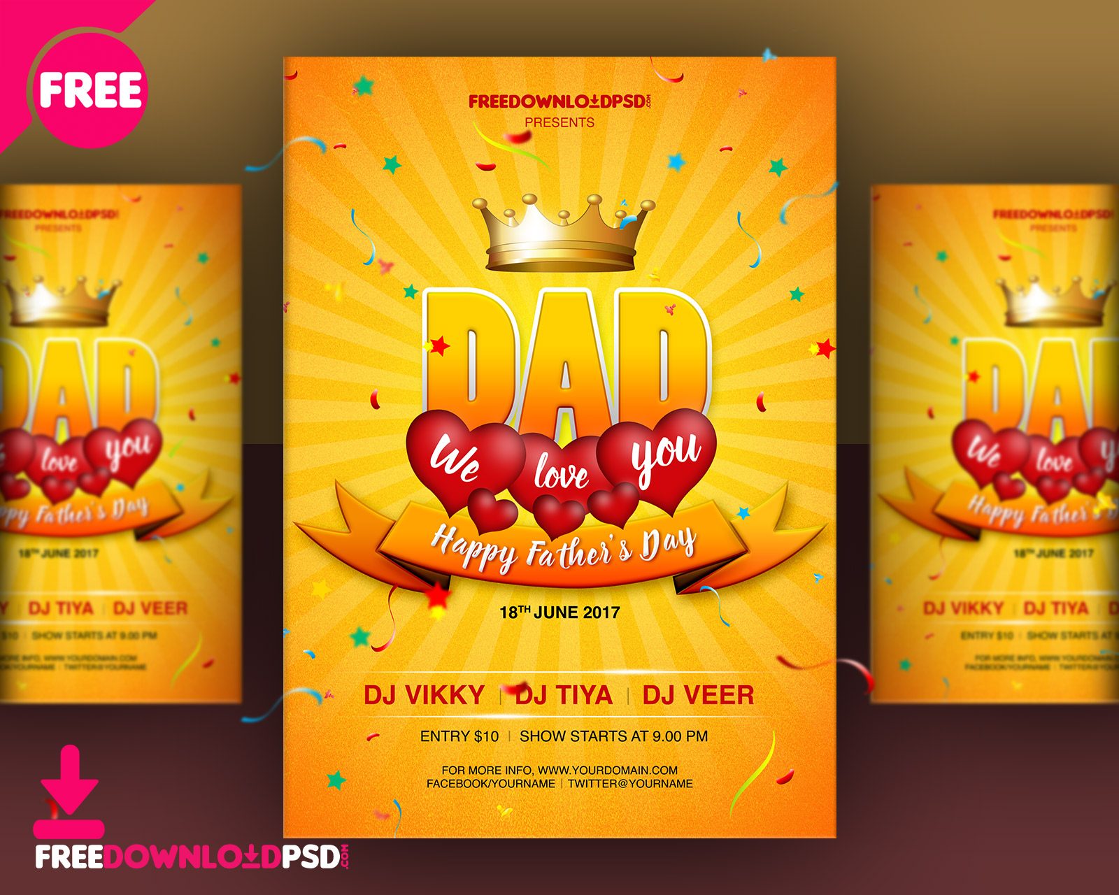 Fathers Day Flyer Template PSD