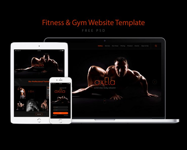 Fitness and Gym Website Template Free PSD