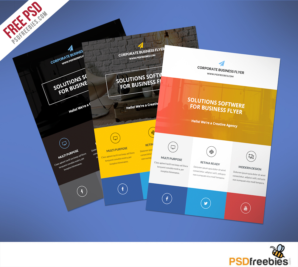 Flat clean corporate business flyer template free psd for Free handout templates