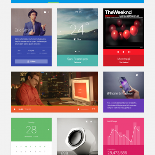 Flat Colourful Mobile UI Design Kit PSD