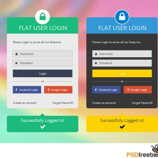 Flat User Login Panel Free PSD Set