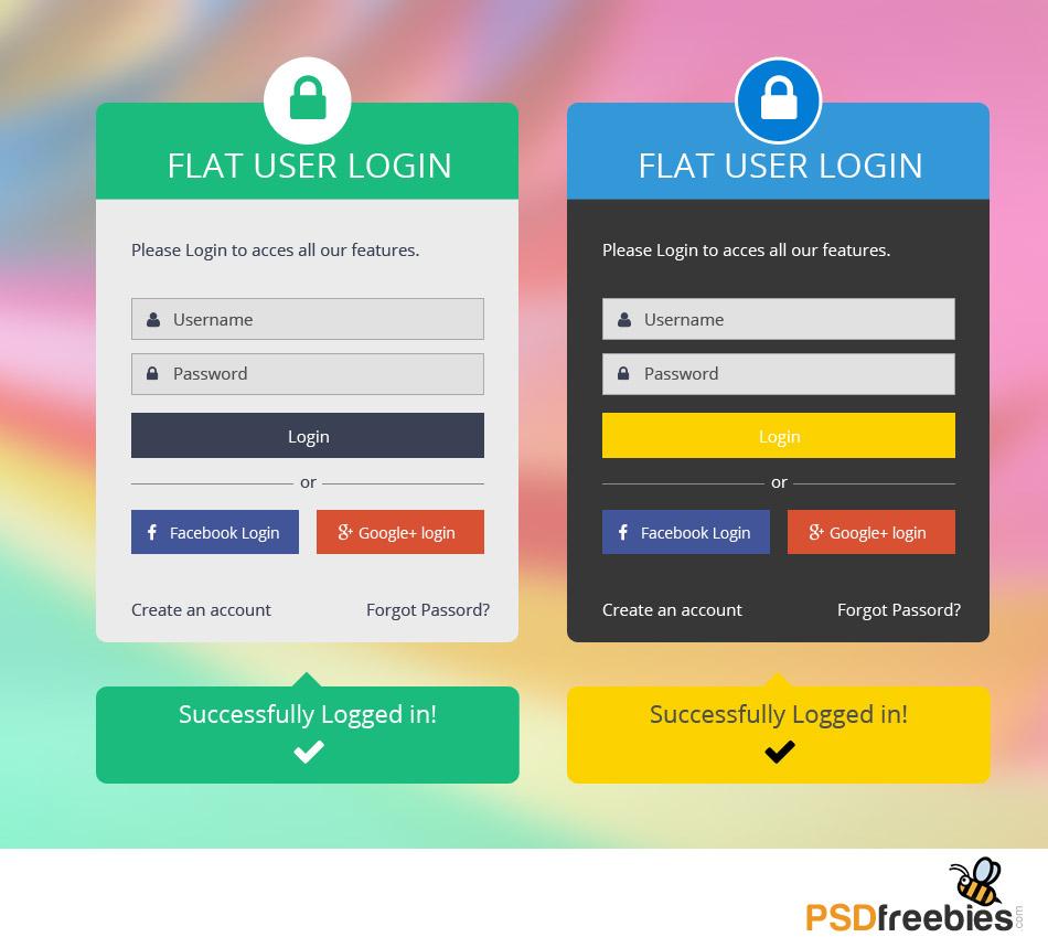 Flat User Login Panel Free PSD Set