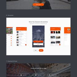 Flat Material Style Website Landing Page Free PSD Set