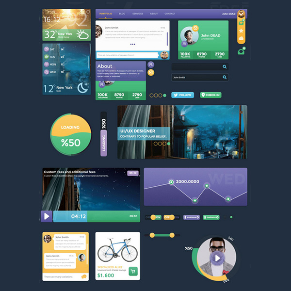 Flat Metro Style Web UI Elements Kit