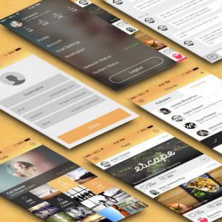 Flat Mobile App UI Kit Free PSD