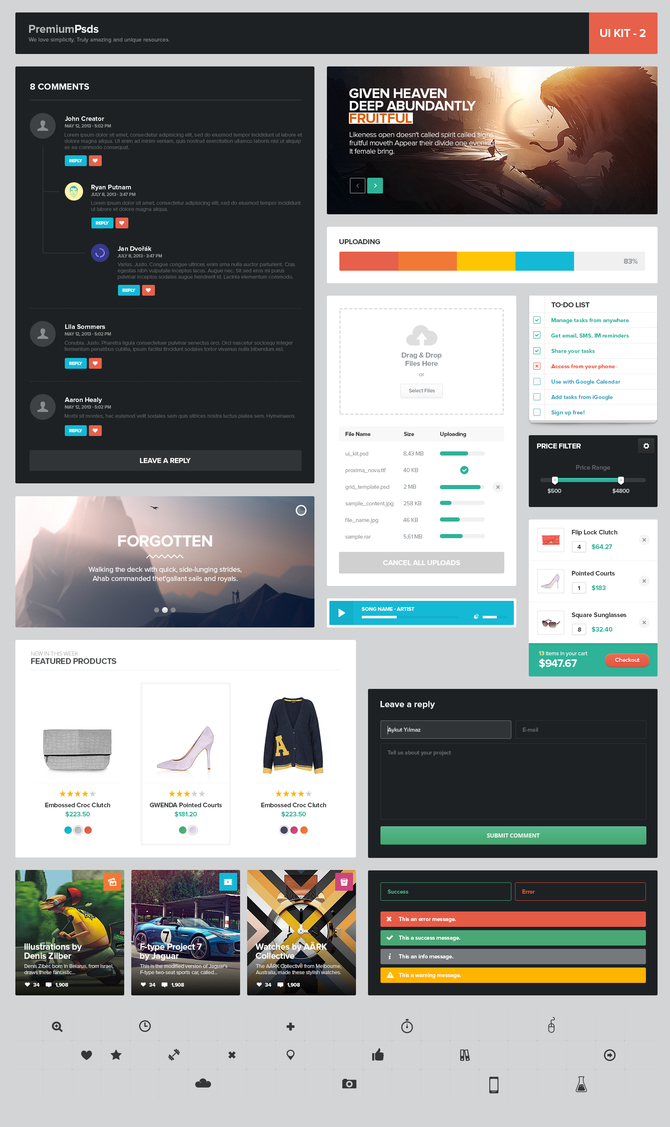 Fantastic Flat Web UI Elements Kit PSD widget, Web Resources, Web Elements, Web Design Elements, Web, User Interface, uploader, Upload, unique, ui set, ui kit, UI elements, UI, tumbnail, todo list, Stylish, Sliders, Resources, Quality, PSD Set, Progress Bar, Product, price filter, Player, Pixel Icons, Panel, pack, original, notifications, new, Navigation, Music Player, Music, Modern, Interface, Image slider, image header, image generator, image blocks, Icons, hi-res, Header, HD, GUI Set, GUI kit, GUI, Graphical User Interface, Fresh, free download, Free, Form, Flat, file uploader panel, featured products, Error, Elements, eCommerce, Download, detailed, Design Resources, Design Elements, Design, Creative, comments form, comments, Clean, checkout, Box,