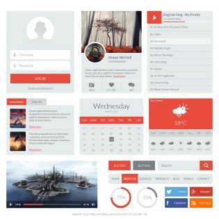 Flat Red UI Kit PSD