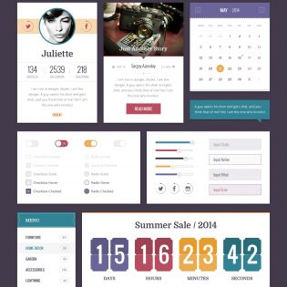 Flat Retro UI Kit Free PSD