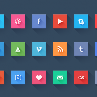Flat Social Media Websites Icons Set PSD