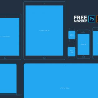 Flat Style Apple Devices Mockups Free PSD