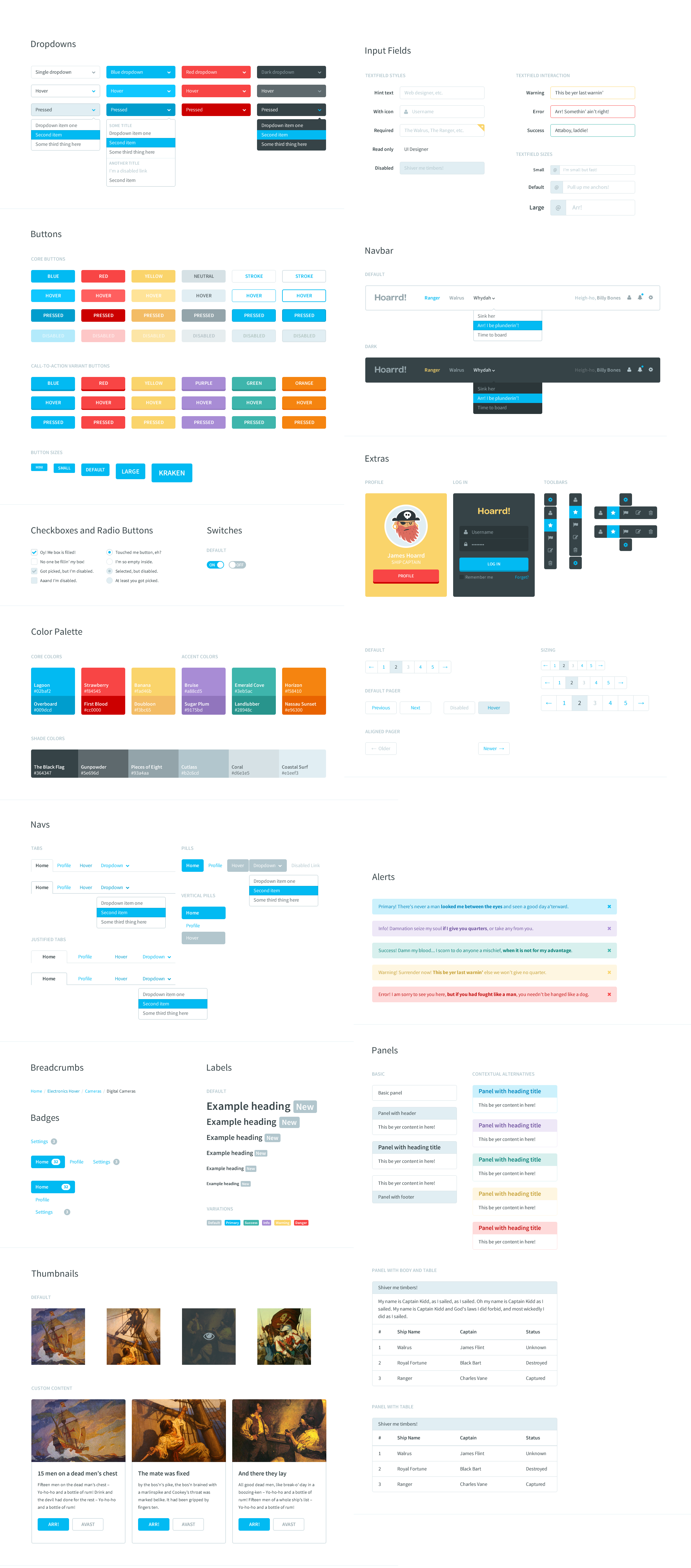 Flat Style Bootstrap Components UI Kit PSD