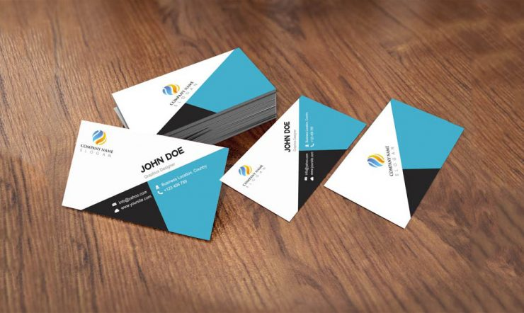 Flat Style Business Card Template Design Free PSD