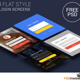 Flat Style Login Screens Free PSD Set