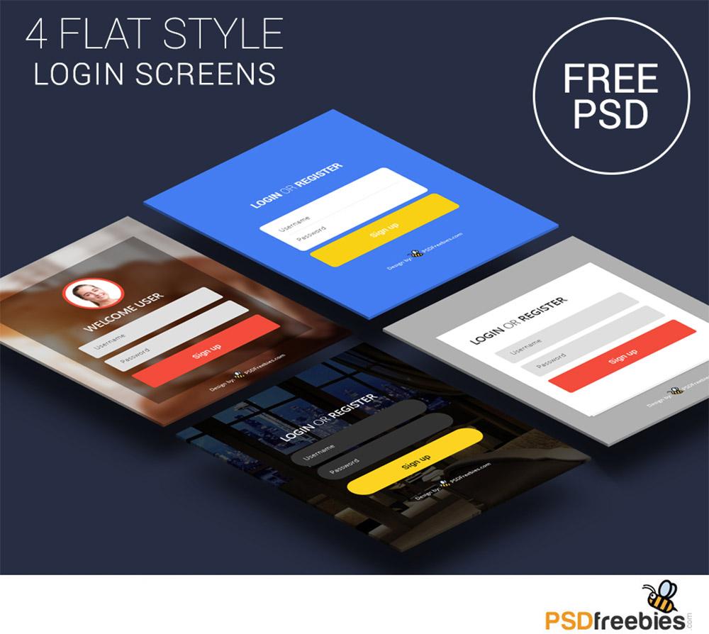 Flat Style Login Screens Free PSD Set
