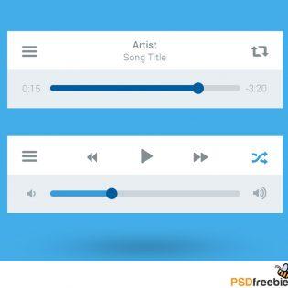 Flat Style Media Player UI interface Free PSD