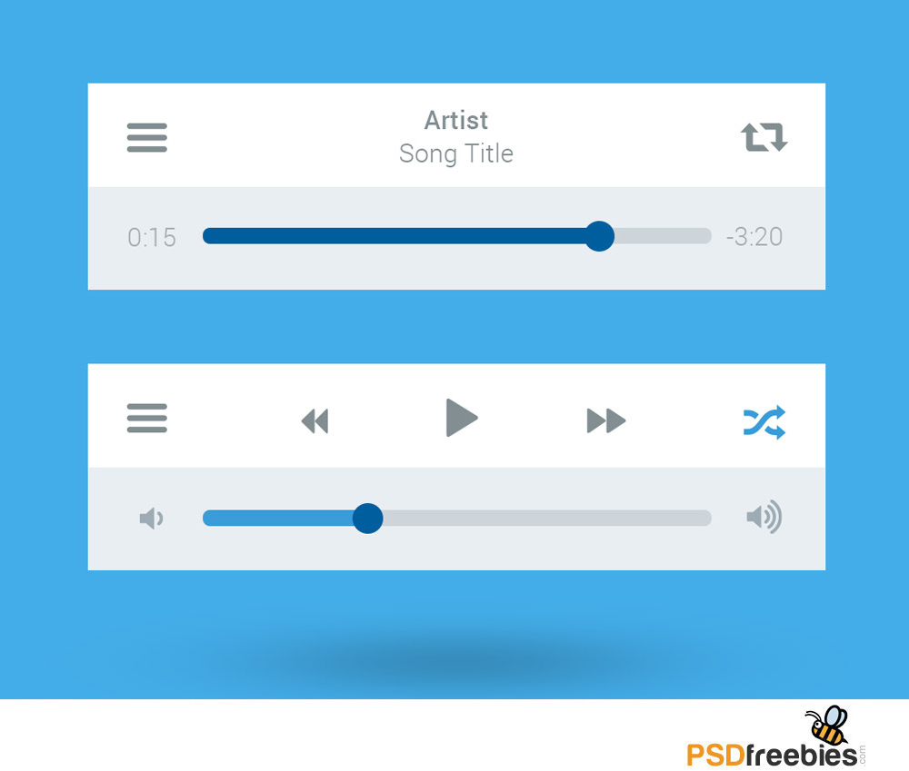 Flat Style Media Player UI Interface Free PSD