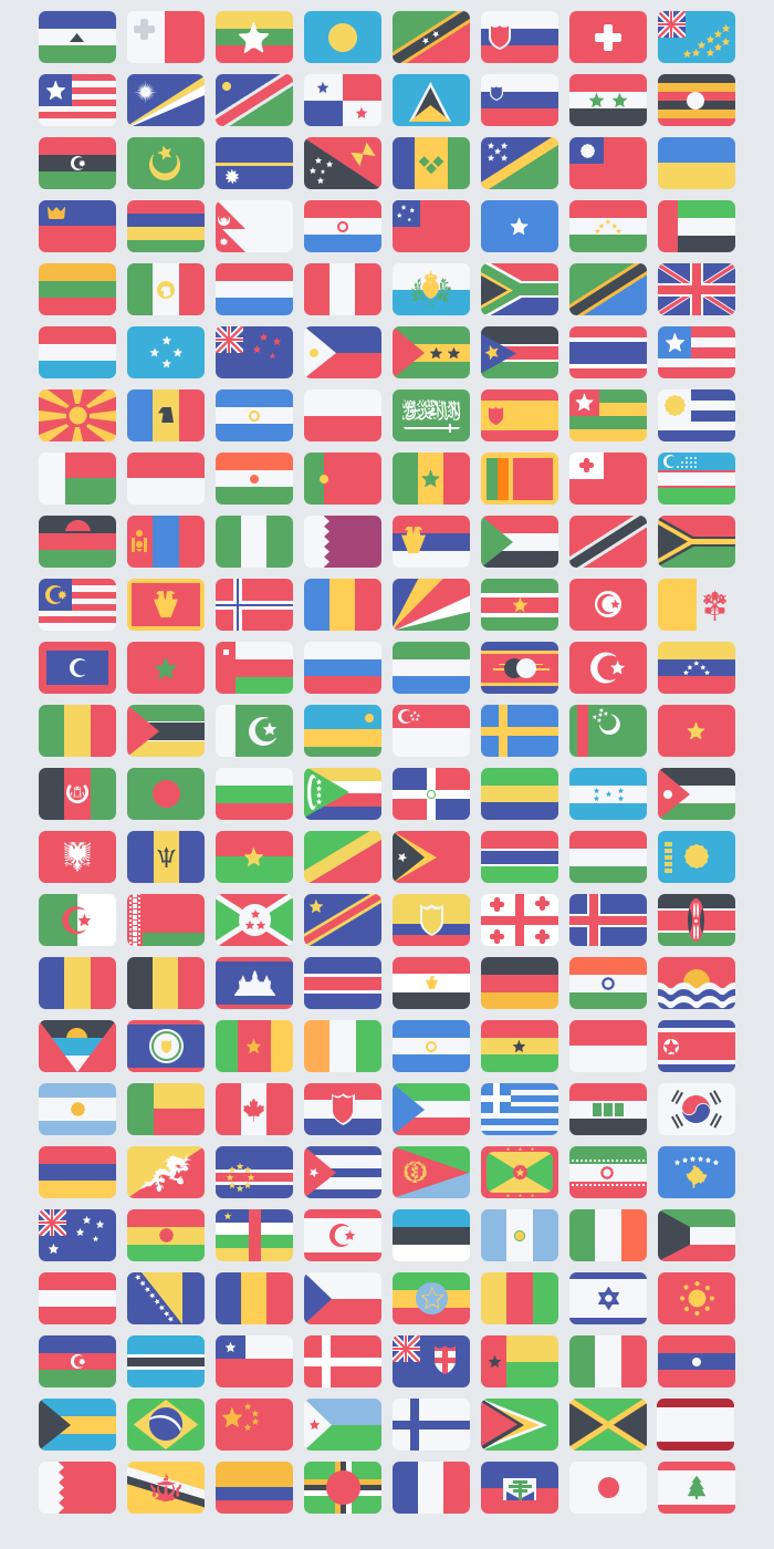 Flat World Flags Icons Pack PSD