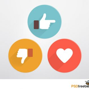 Flat Style Like and Dislike Social Icons PSD Freebie