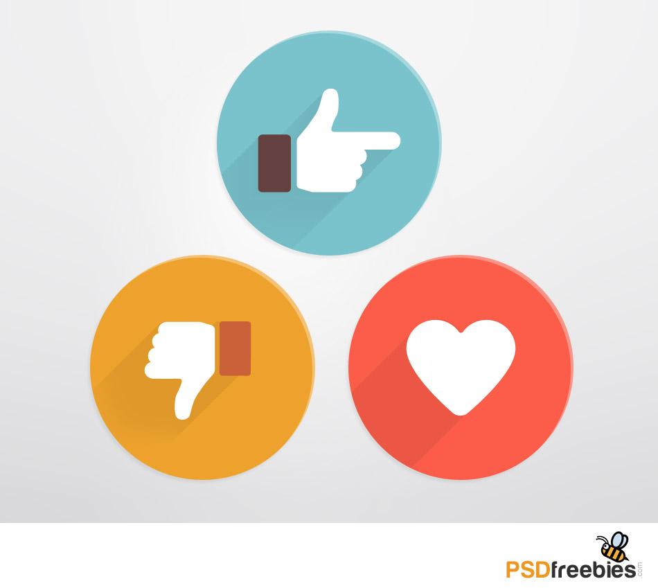 Flat Style Like And Dislike Social Icons Psd Freebie
