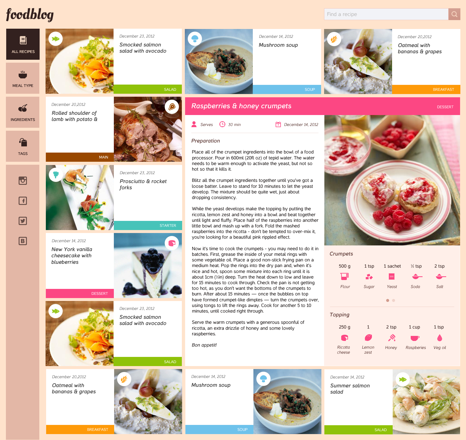 Food blog free template psd download download psd food blog free template psd www website template website layout website webpage forumfinder Choice Image