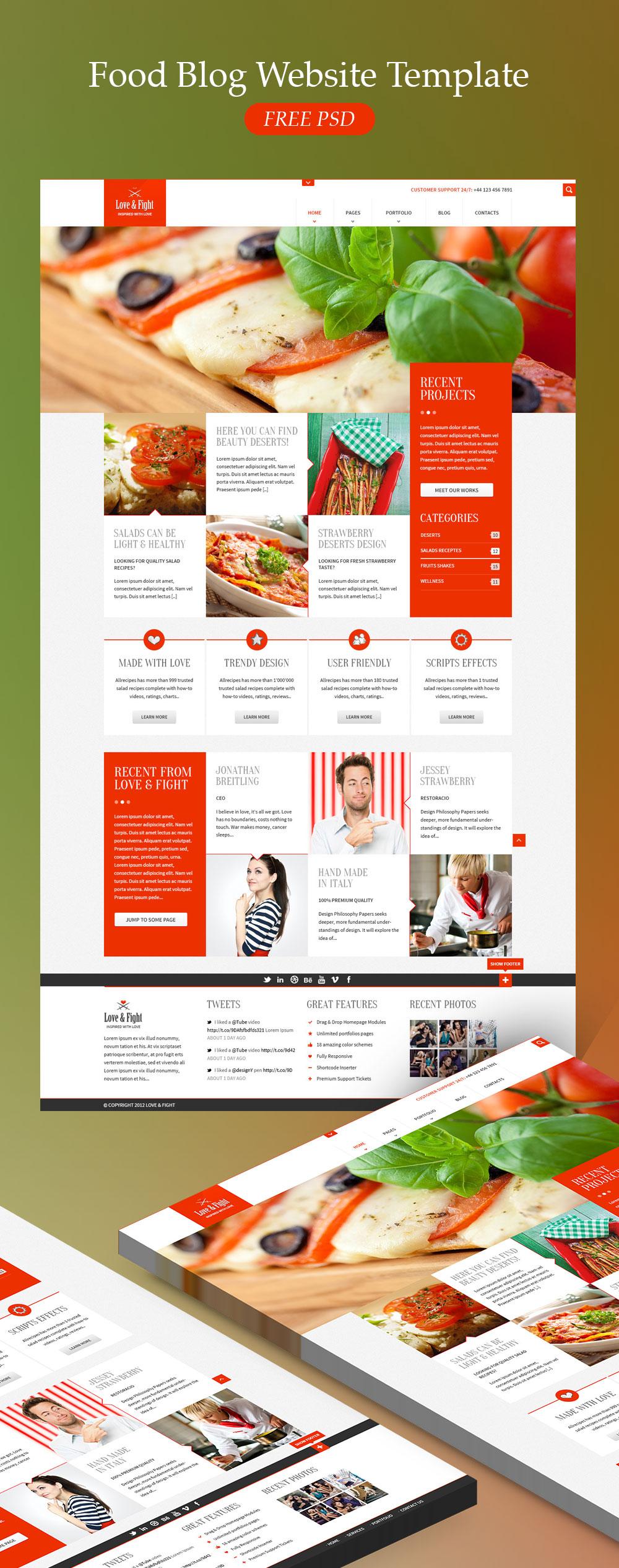 Food Blog Website Template Free PSD