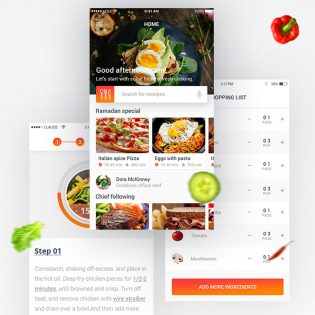 Food Recipe Mobile App Free PSD