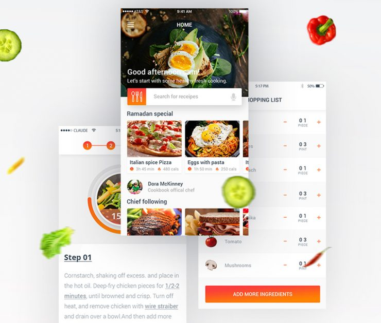 Food recipe mobile app free psd download