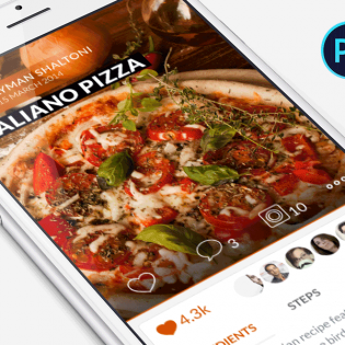 Food Recipe Mobile Application PSD Freebie