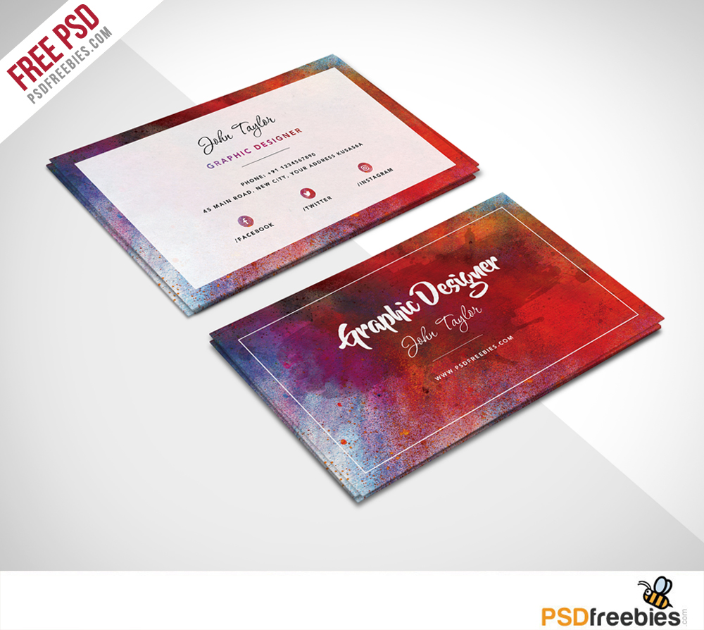 Free Abstract Business Card PSD Template
