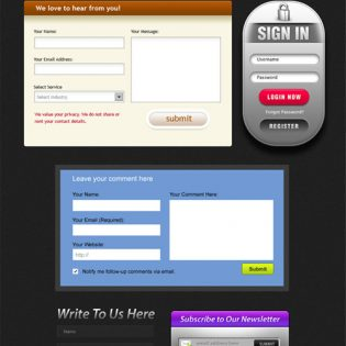 Free Beautiful Web Forms PSD