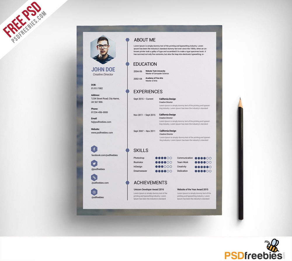 Clean Resume Template Free Psd Download  Download Psd