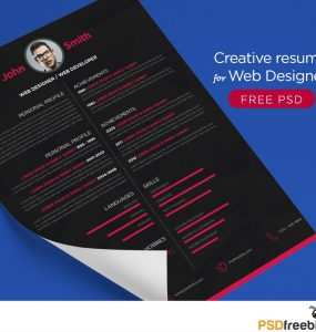 Creative resume Template for Web Designer Free PSD