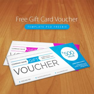 Free Gift Card Voucher Template PSD Freebie