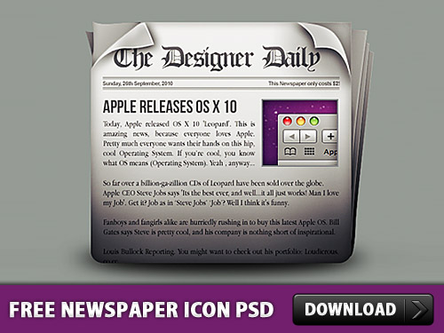 Free Newspaper Icon PSD