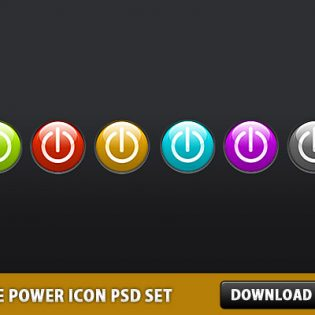 Free Glossy Power Icon PSD Set
