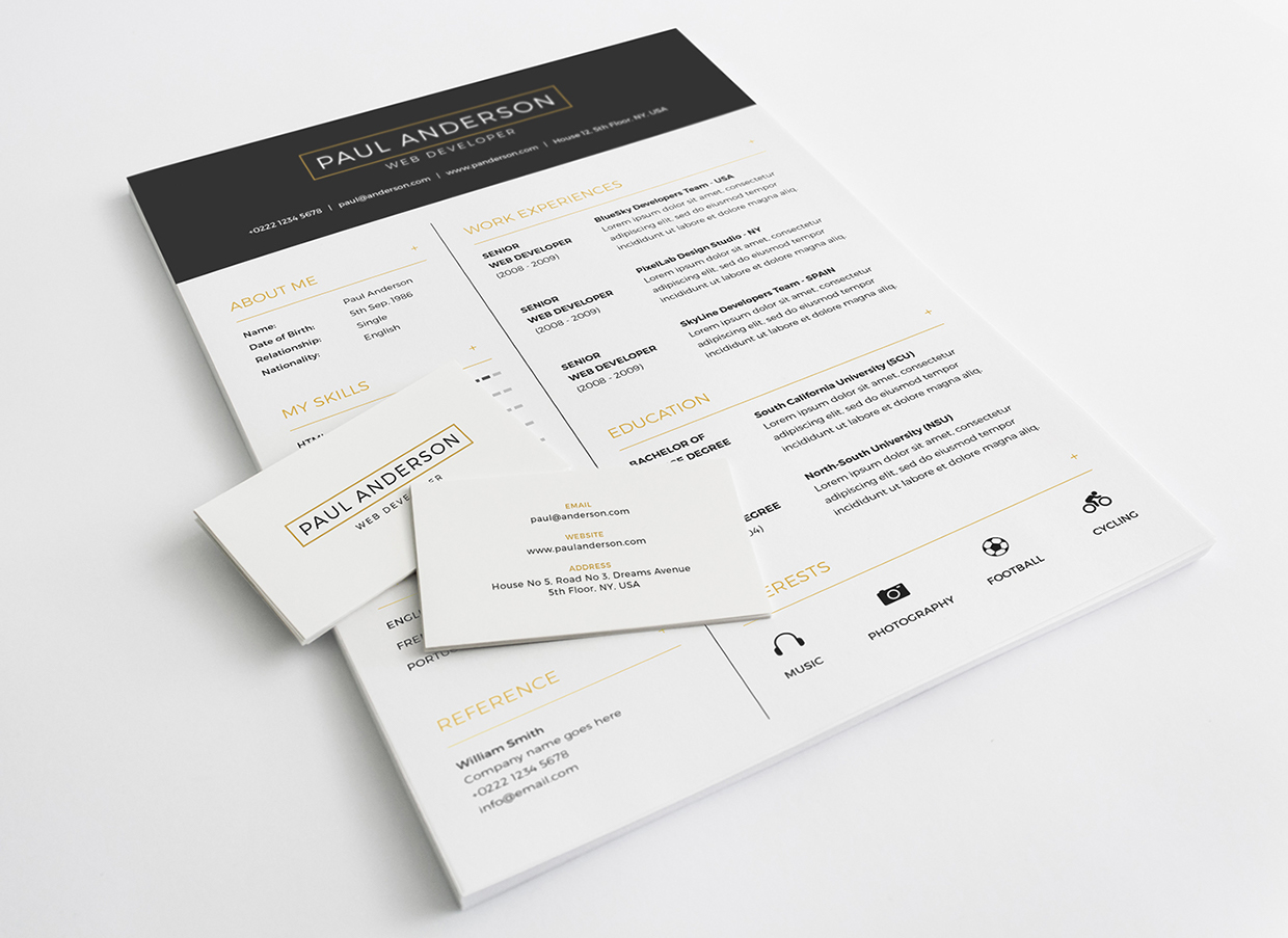 Free Resume With Business Card Template Psd Download  Download Psd