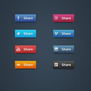 Social Media Buttons Set PSD