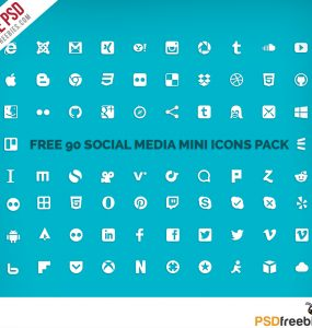 Social Media Mini Icons Pack Free PSD