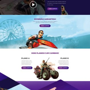 GTA V Game Website Landing Page Free PSD