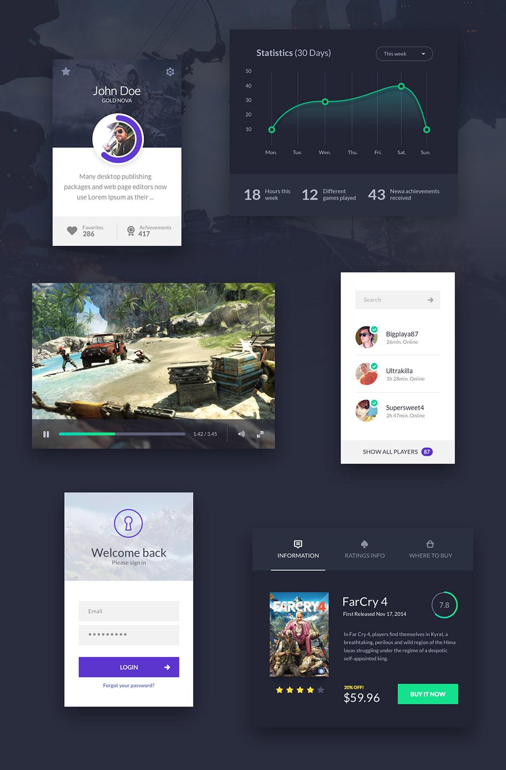 Game Application UI Kit Elements Free PSD