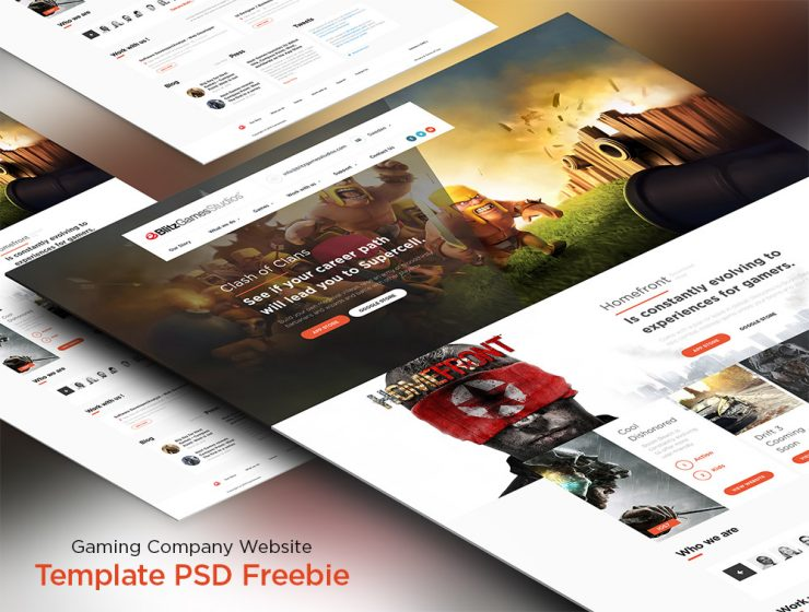 gaming company website template psd freebie download