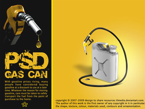 Gas Can PSD PSD Oil Objects Layered PSDs Icons Gas Can 3D