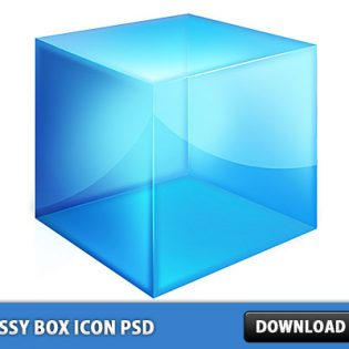 3D Shiny blue Box icon PSD